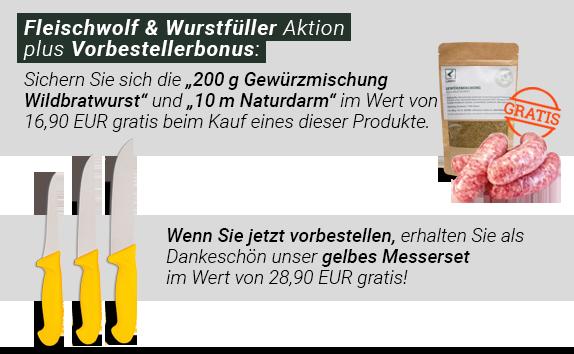 Gratiszugaben Fleischwolf + Wurstfüller